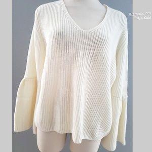 Lauren Conrad V-Neck Chunky Bell Sleeve Sweater